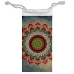 Folk Art Lotus Mandala Dirty Blue Red Jewelry Bags Back