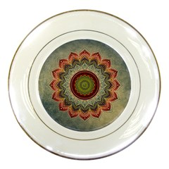 Folk Art Lotus Mandala Dirty Blue Red Porcelain Plates