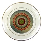 Folk Art Lotus Mandala Dirty Blue Red Porcelain Plates Front