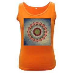 Folk Art Lotus Mandala Dirty Blue Red Women s Dark Tank Top