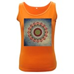Folk Art Lotus Mandala Dirty Blue Red Women s Dark Tank Top Front