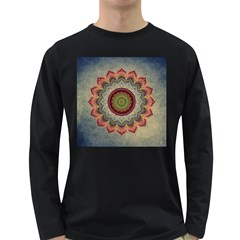 Folk Art Lotus Mandala Dirty Blue Red Long Sleeve Dark T-Shirts