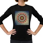 Folk Art Lotus Mandala Dirty Blue Red Women s Long Sleeve Dark T-Shirts Front
