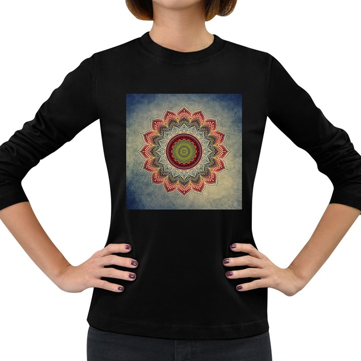 Folk Art Lotus Mandala Dirty Blue Red Women s Long Sleeve Dark T-Shirts