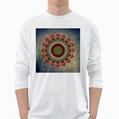 Folk Art Lotus Mandala Dirty Blue Red White Long Sleeve T Shirts