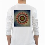 Folk Art Lotus Mandala Dirty Blue Red White Long Sleeve T-Shirts Back