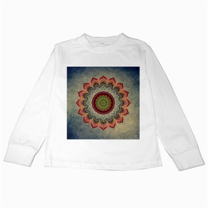 Folk Art Lotus Mandala Dirty Blue Red Kids Long Sleeve T-Shirts