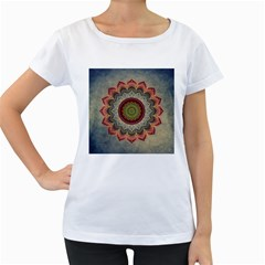 Folk Art Lotus Mandala Dirty Blue Red Women s Loose-Fit T-Shirt (White)