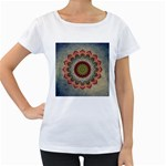 Folk Art Lotus Mandala Dirty Blue Red Women s Loose-Fit T-Shirt (White) Front