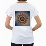 Folk Art Lotus Mandala Dirty Blue Red Women s Loose-Fit T-Shirt (White) Back