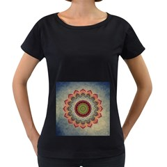 Folk Art Lotus Mandala Dirty Blue Red Women s Loose-Fit T-Shirt (Black)