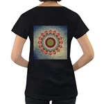 Folk Art Lotus Mandala Dirty Blue Red Women s Loose-Fit T-Shirt (Black) Back
