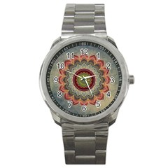 Folk Art Lotus Mandala Dirty Blue Red Sport Metal Watch