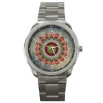 Folk Art Lotus Mandala Dirty Blue Red Sport Metal Watch Front