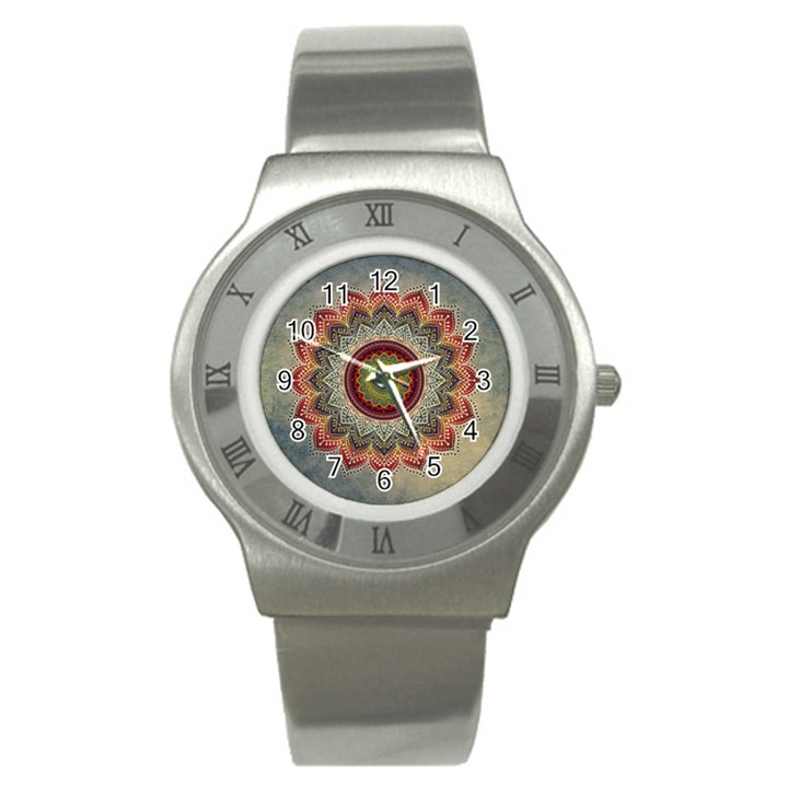 Folk Art Lotus Mandala Dirty Blue Red Stainless Steel Watch