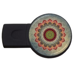 Folk Art Lotus Mandala Dirty Blue Red USB Flash Drive Round (4 GB)