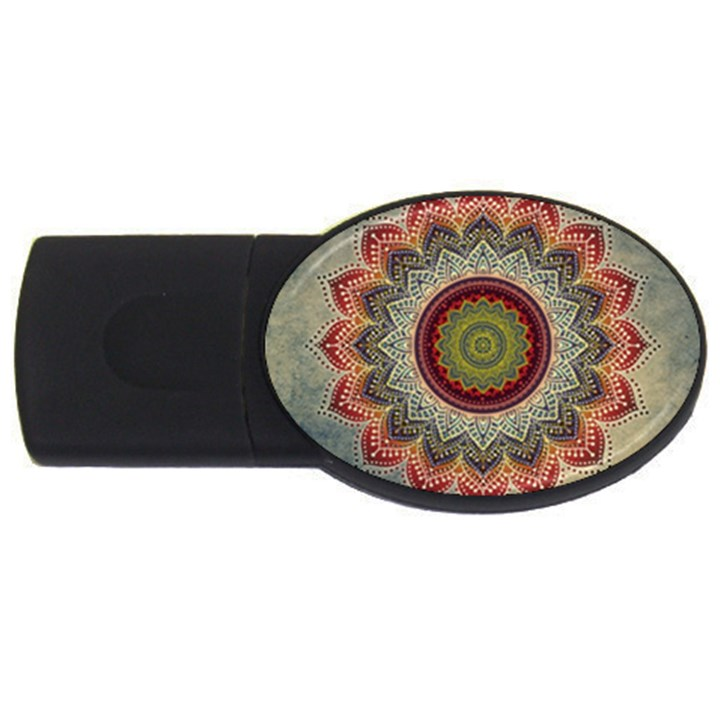 Folk Art Lotus Mandala Dirty Blue Red USB Flash Drive Oval (4 GB)