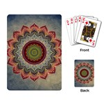 Folk Art Lotus Mandala Dirty Blue Red Playing Card Back