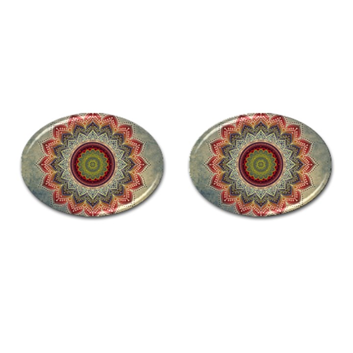 Folk Art Lotus Mandala Dirty Blue Red Cufflinks (Oval)
