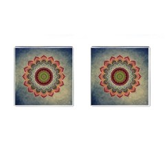 Folk Art Lotus Mandala Dirty Blue Red Cufflinks (square)