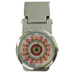 Folk Art Lotus Mandala Dirty Blue Red Money Clip Watches Front