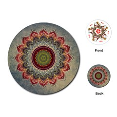 Folk Art Lotus Mandala Dirty Blue Red Playing Cards (Round)