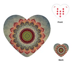 Folk Art Lotus Mandala Dirty Blue Red Playing Cards (Heart)