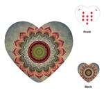 Folk Art Lotus Mandala Dirty Blue Red Playing Cards (Heart)  Front