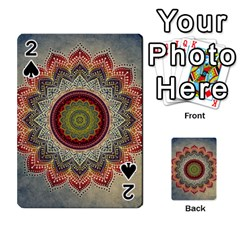 Folk Art Lotus Mandala Dirty Blue Red Playing Cards 54 Designs