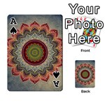 Folk Art Lotus Mandala Dirty Blue Red Playing Cards 54 Designs  Front - SpadeA