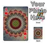 Folk Art Lotus Mandala Dirty Blue Red Playing Cards 54 Designs  Front - Heart4