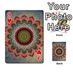 Folk Art Lotus Mandala Dirty Blue Red Playing Cards 54 Designs  Front - Heart9