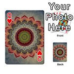 Folk Art Lotus Mandala Dirty Blue Red Playing Cards 54 Designs  Front - HeartQ