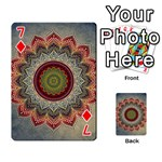 Folk Art Lotus Mandala Dirty Blue Red Playing Cards 54 Designs  Front - Diamond7