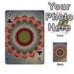 Folk Art Lotus Mandala Dirty Blue Red Playing Cards 54 Designs  Front - Club9