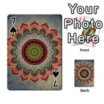 Folk Art Lotus Mandala Dirty Blue Red Playing Cards 54 Designs  Front - Spade7