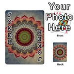 Folk Art Lotus Mandala Dirty Blue Red Playing Cards 54 Designs  Front - Joker1