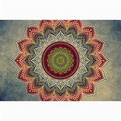 Folk Art Lotus Mandala Dirty Blue Red Collage Prints
