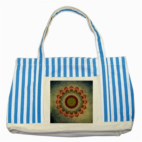 Folk Art Lotus Mandala Dirty Blue Red Striped Blue Tote Bag