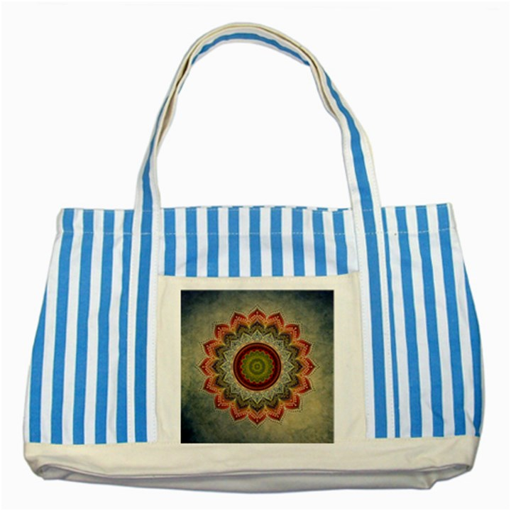 Folk Art Lotus Mandala Dirty Blue Red Striped Blue Tote Bag