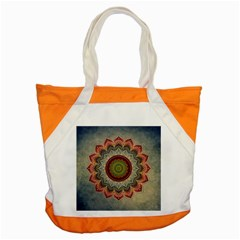 Folk Art Lotus Mandala Dirty Blue Red Accent Tote Bag