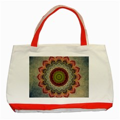 Folk Art Lotus Mandala Dirty Blue Red Classic Tote Bag (red)