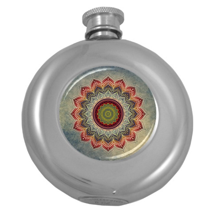 Folk Art Lotus Mandala Dirty Blue Red Round Hip Flask (5 oz)
