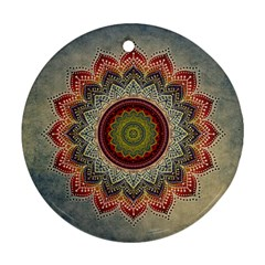 Folk Art Lotus Mandala Dirty Blue Red Round Ornament (Two Sides)