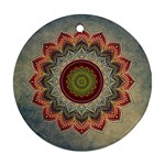 Folk Art Lotus Mandala Dirty Blue Red Round Ornament (Two Sides)  Back