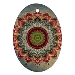 Folk Art Lotus Mandala Dirty Blue Red Oval Ornament (two Sides)