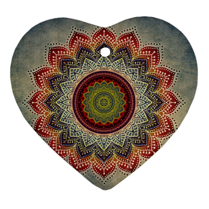 Folk Art Lotus Mandala Dirty Blue Red Heart Ornament (2 Sides)