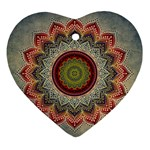 Folk Art Lotus Mandala Dirty Blue Red Heart Ornament (2 Sides) Back