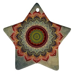 Folk Art Lotus Mandala Dirty Blue Red Star Ornament (Two Sides)