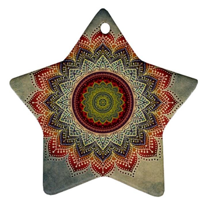Folk Art Lotus Mandala Dirty Blue Red Star Ornament (Two Sides)